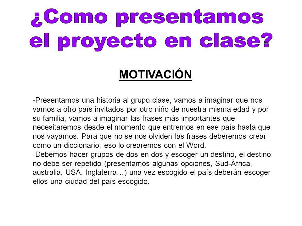 ¿Como presentamos el proyecto en clase MOTIVACIÓN