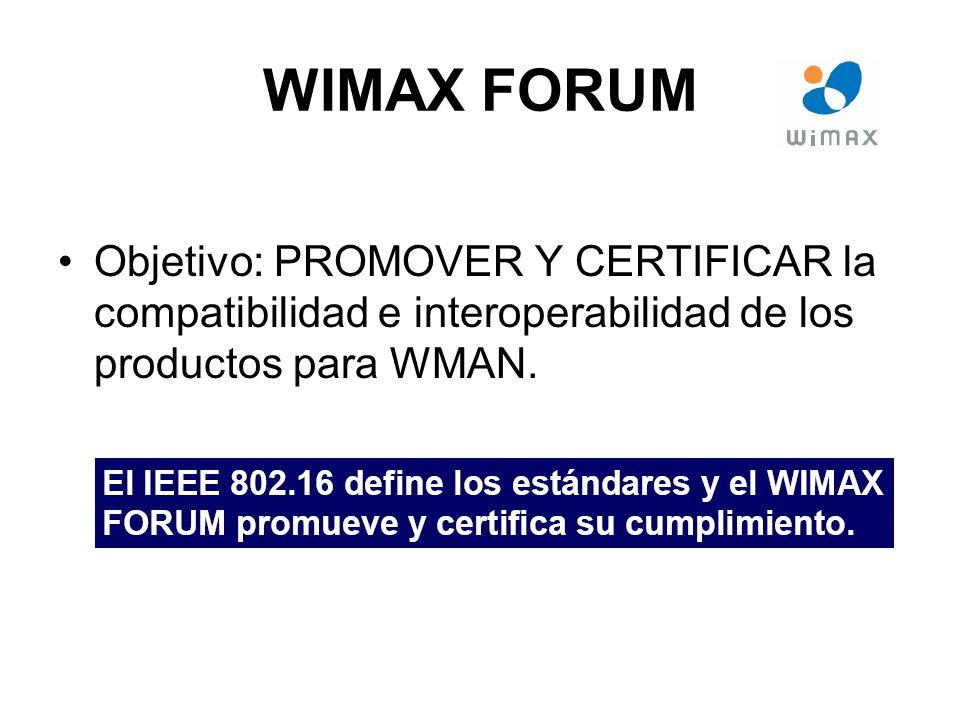 WIMAX FORUM Objetivo: PROMOVER Y CERTIFICAR la compatibilidad e interoperabilidad de los productos para WMAN.