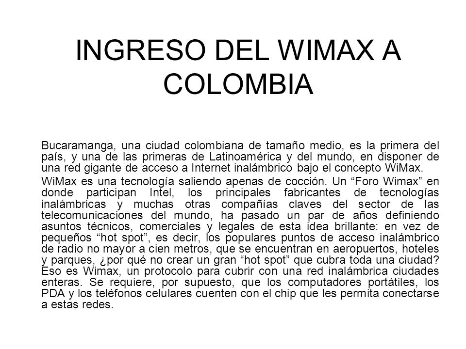 INGRESO DEL WIMAX A COLOMBIA