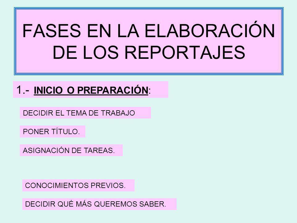 FASES EN LA ELABORACIÓN DE LOS REPORTAJES