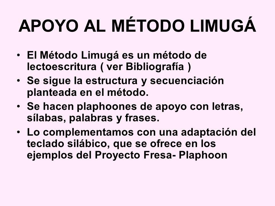 APOYO AL MÉTODO LIMUGÁ El Método Limugá es un método de lectoescritura ( ver Bibliografía )