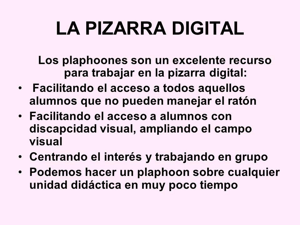 LA PIZARRA DIGITAL Los plaphoones son un excelente recurso para trabajar en la pizarra digital: