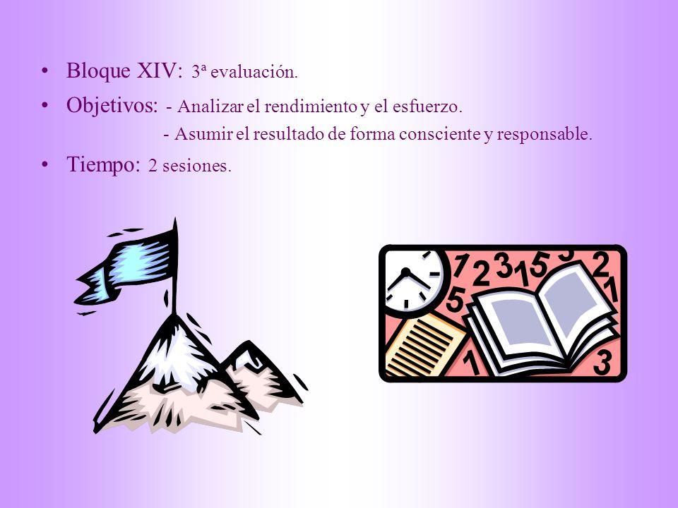 Bloque XIV: 3ª evaluación.