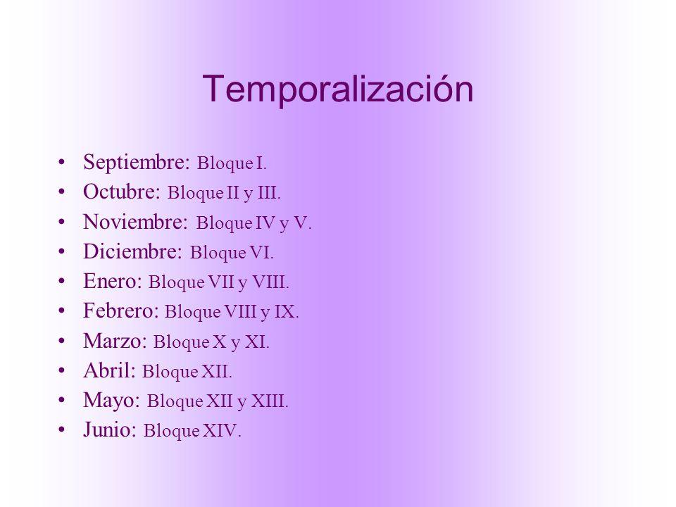 Temporalización Septiembre: Bloque I. Octubre: Bloque II y III.