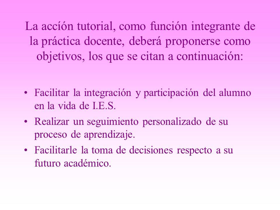 La accíón tutorial, como función integrante de la práctica docente, deberá proponerse como objetivos, los que se citan a continuación: