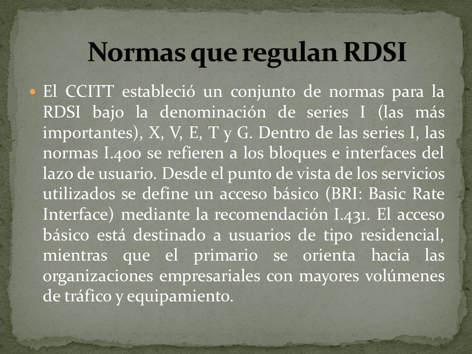 Normas que regulan RDSI