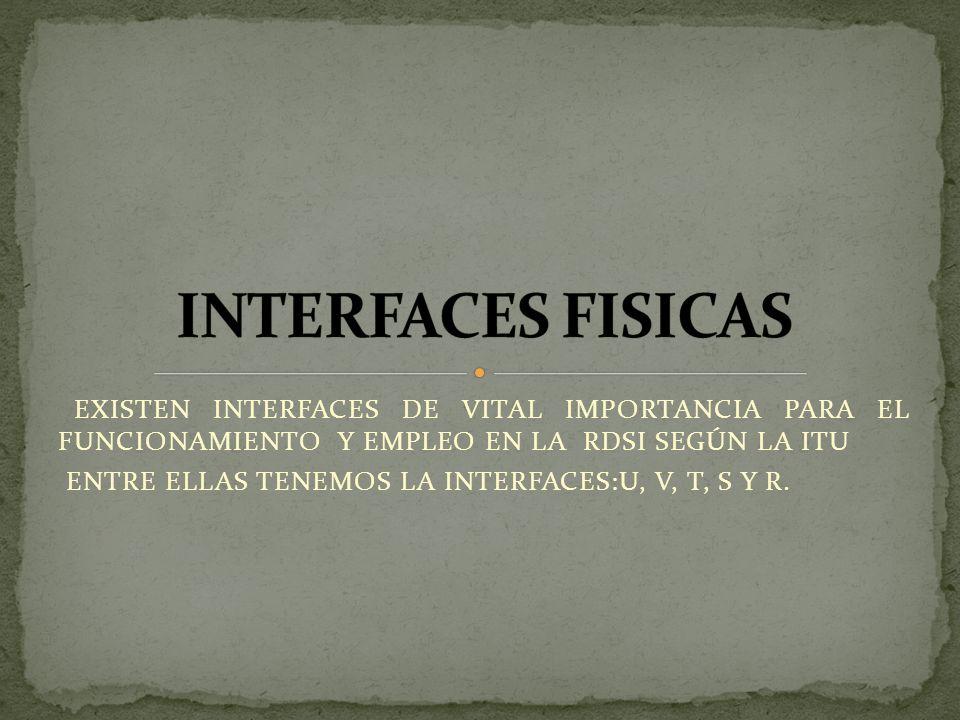 INTERFACES FISICAS EXISTEN INTERFACES DE VITAL IMPORTANCIA PARA EL FUNCIONAMIENTO Y EMPLEO EN LA RDSI SEGÚN LA ITU.