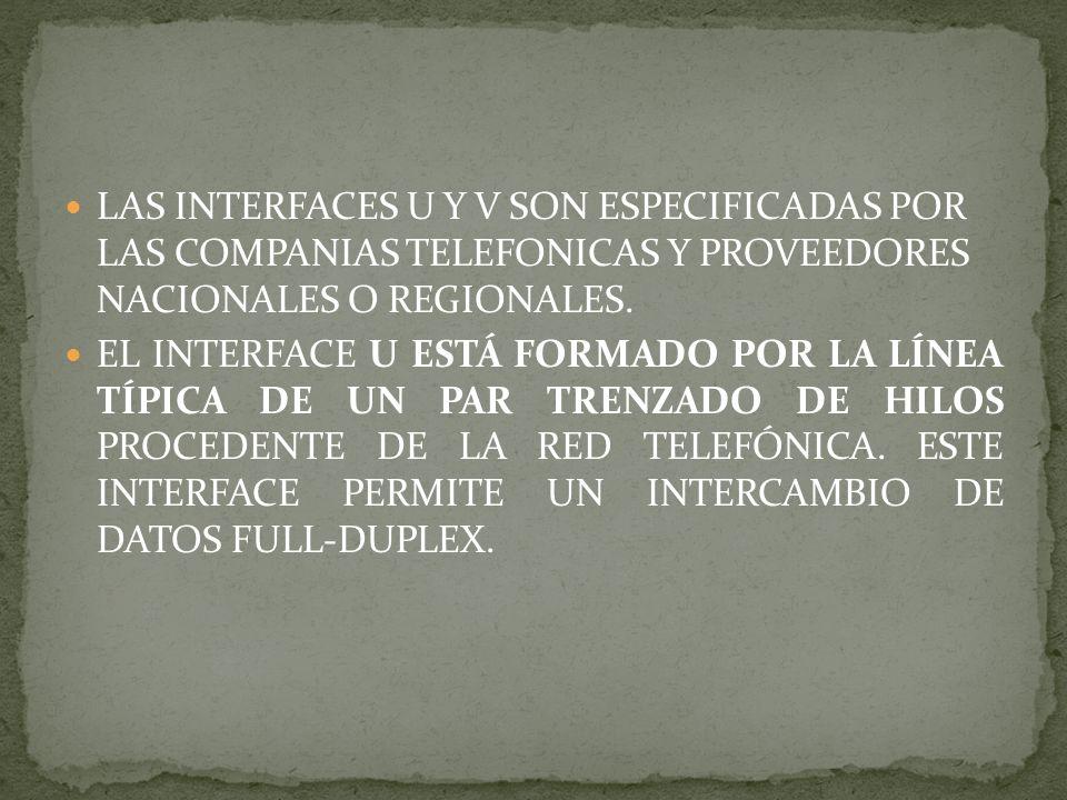 LAS INTERFACES U Y V SON ESPECIFICADAS POR LAS COMPANIAS TELEFONICAS Y PROVEEDORES NACIONALES O REGIONALES.