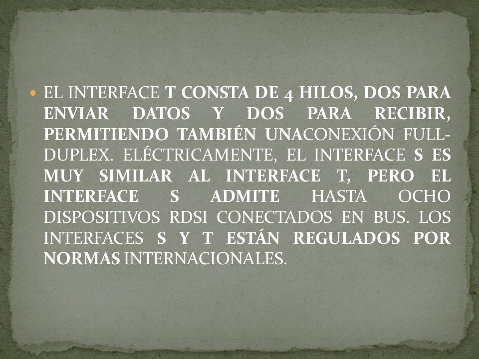 EL INTERFACE T CONSTA DE 4 HILOS, DOS PARA ENVIAR DATOS Y DOS PARA RECIBIR, PERMITIENDO TAMBIÉN UNACONEXIÓN FULL- DUPLEX.