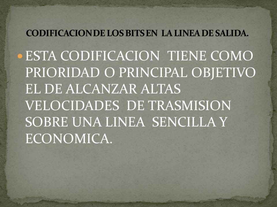 CODIFICACION DE LOS BITS EN LA LINEA DE SALIDA.