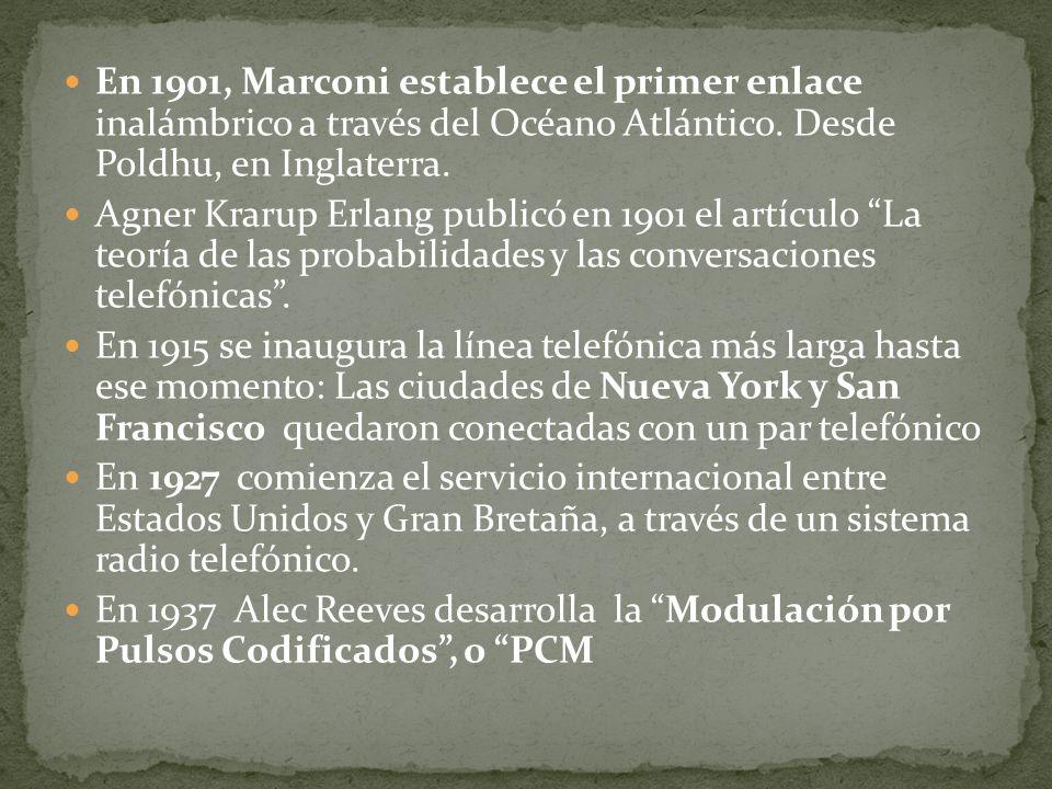 En 1901, Marconi establece el primer enlace inalámbrico a través del Océano Atlántico. Desde Poldhu, en Inglaterra.