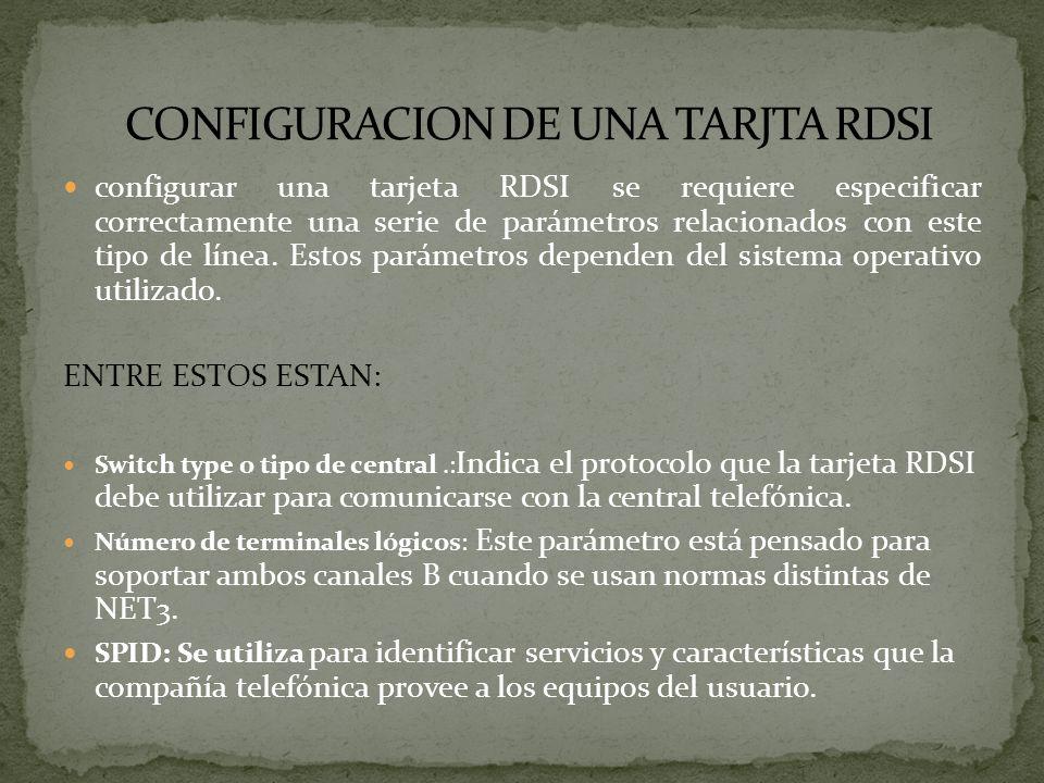 CONFIGURACION DE UNA TARJTA RDSI