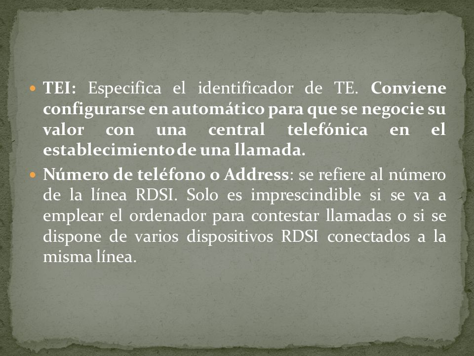 TEI: Especifica el identificador de TE