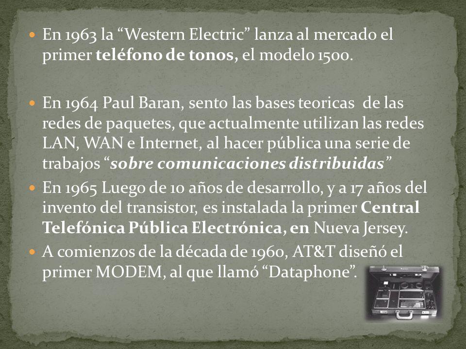 En 1963 la Western Electric lanza al mercado el primer teléfono de tonos, el modelo 1500.