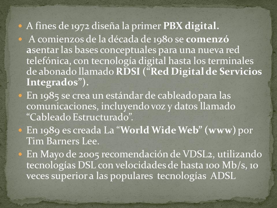 A fines de 1972 diseña la primer PBX digital.