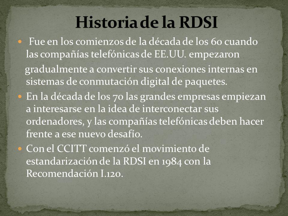 Historia de la RDSIFue en los comienzos de la década de los 60 cuando las compañías telefónicas de EE.UU. empezaron.