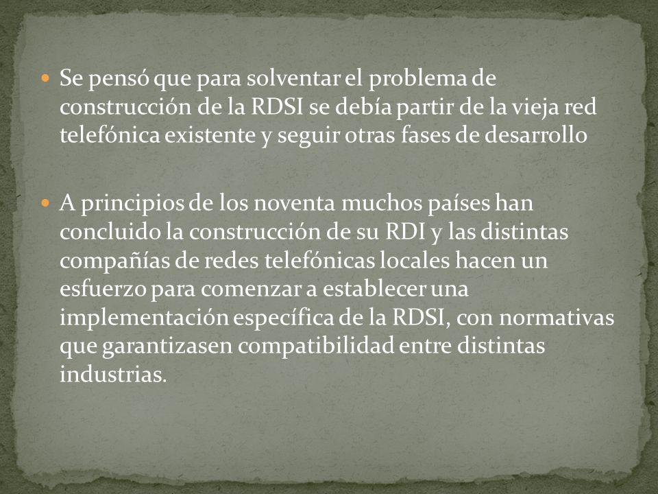 Se pensó que para solventar el problema de construcción de la RDSI se debía partir de la vieja red telefónica existente y seguir otras fases de desarrollo