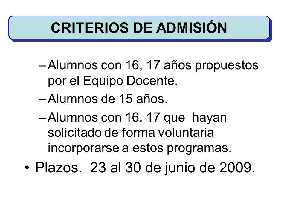 CRITERIOS DE ADMISIÓN Plazos. 23 al 30 de junio de 2009.