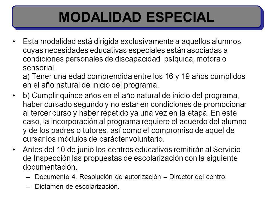 MODALIDAD ESPECIAL
