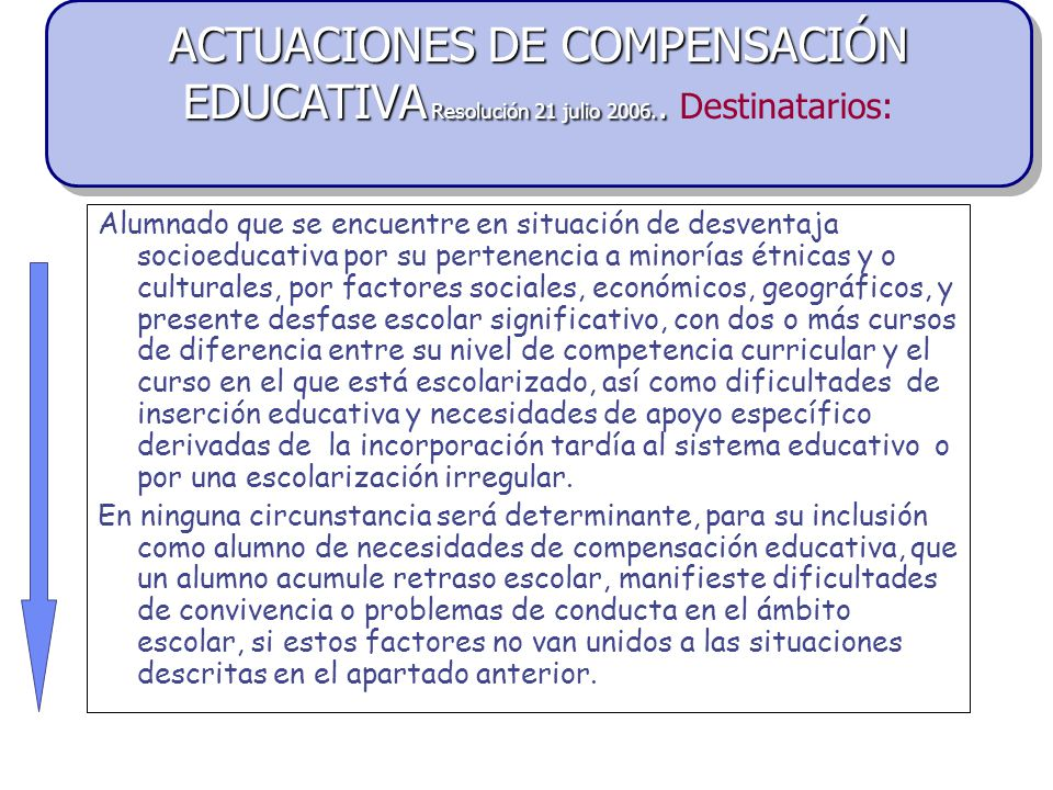 ACTUACIONES DE COMPENSACIÓN EDUCATIVA Resolución 21 julio 2006