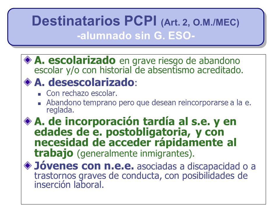 Destinatarios PCPI (Art. 2, O.M./MEC)