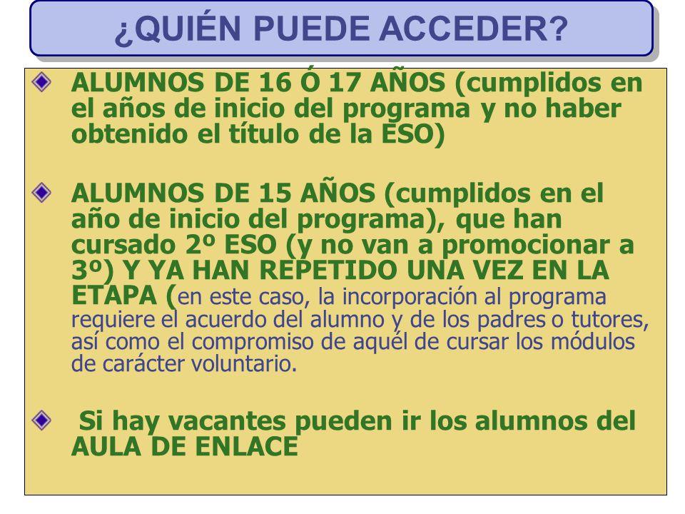 ¿QUIÉN PUEDE ACCEDER ALUMNOS DE 16 Ó 17 AÑOS (cumplidos en el años de inicio del programa y no haber obtenido el título de la ESO)