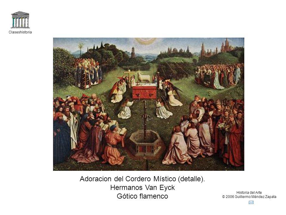 Adoracion del Cordero Místico (detalle). Hermanos Van Eyck