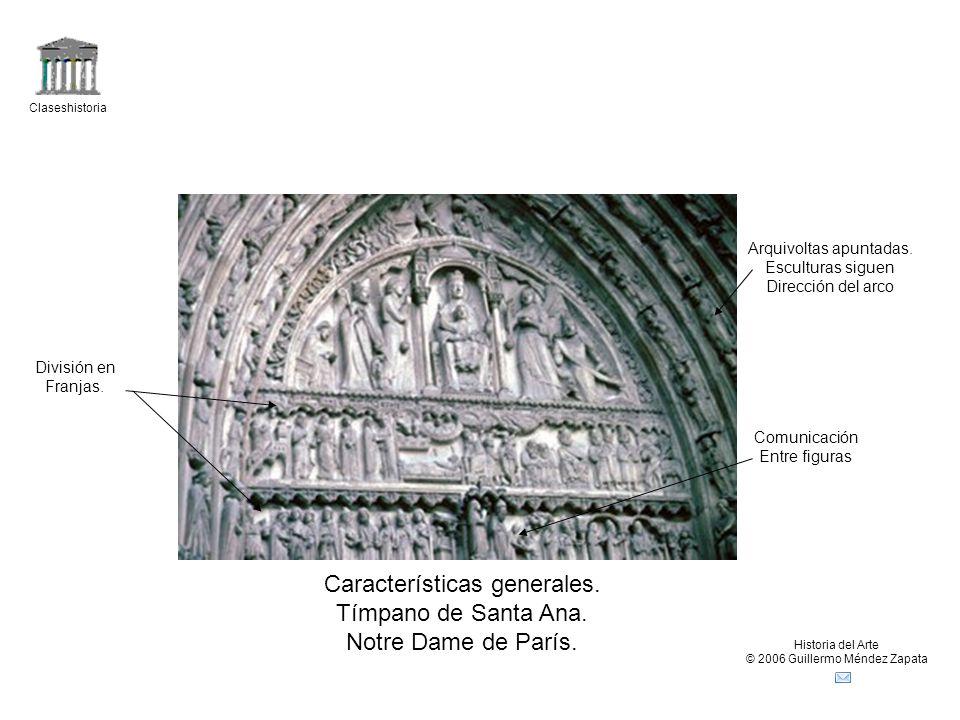 Características generales. Tímpano de Santa Ana. Notre Dame de París.
