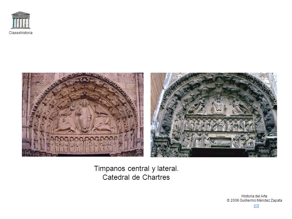 Timpanos central y lateral. Catedral de Chartres
