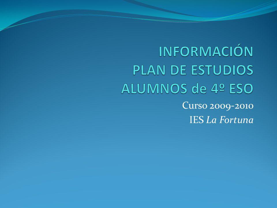 INFORMACIÓN PLAN DE ESTUDIOS ALUMNOS de 4º ESO