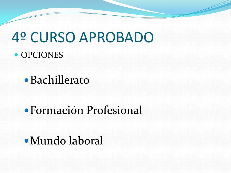 4º CURSO APROBADO Bachillerato Formación Profesional Mundo laboral