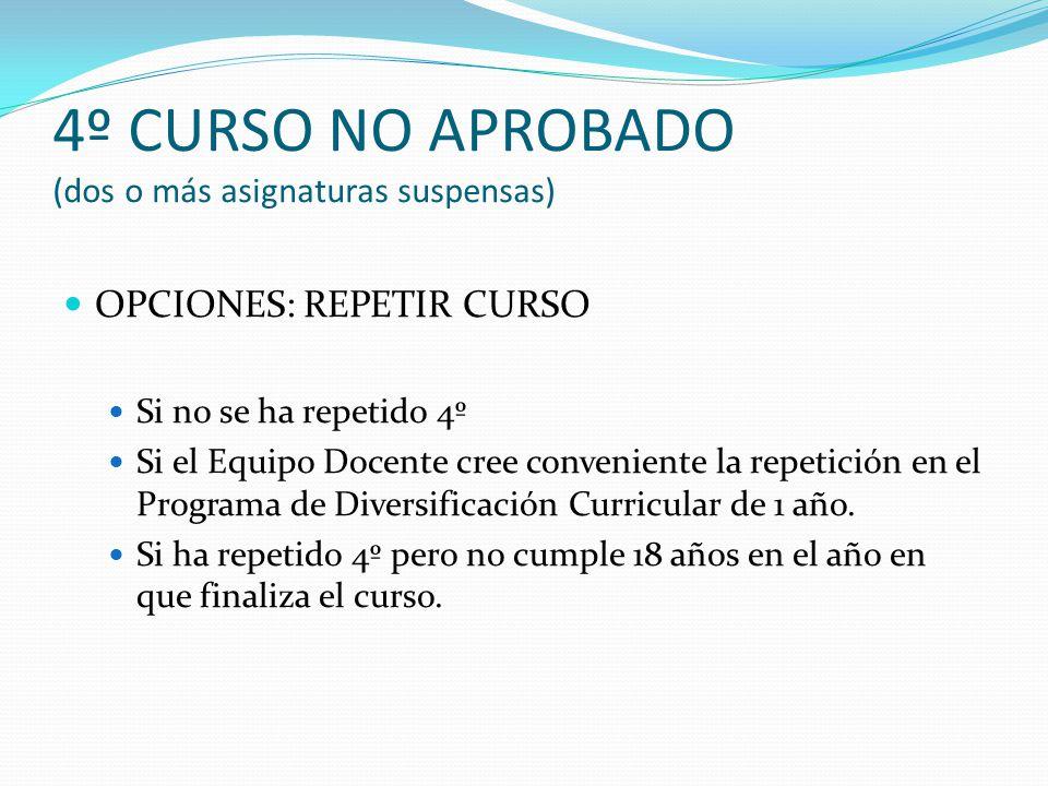 4º CURSO NO APROBADO (dos o más asignaturas suspensas)