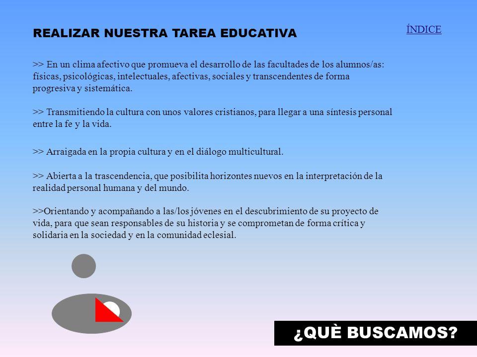 ¿QUÈ BUSCAMOS REALIZAR NUESTRA TAREA EDUCATIVA ÍNDICE