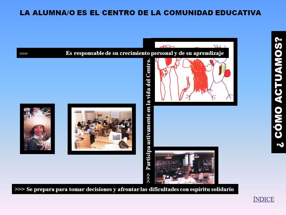 ¿ CÓMO ACTUAMOS LA ALUMNA/O ES EL CENTRO DE LA COMUNIDAD EDUCATIVA