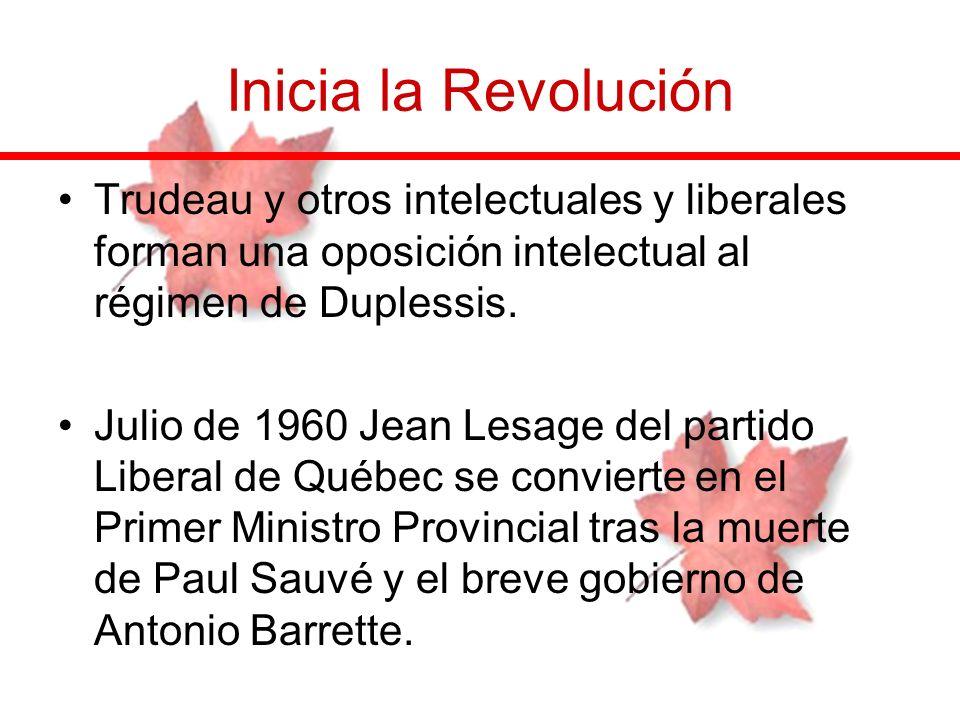 Inicia la RevoluciónTrudeau y otros intelectuales y liberales forman una oposición intelectual al régimen de Duplessis.