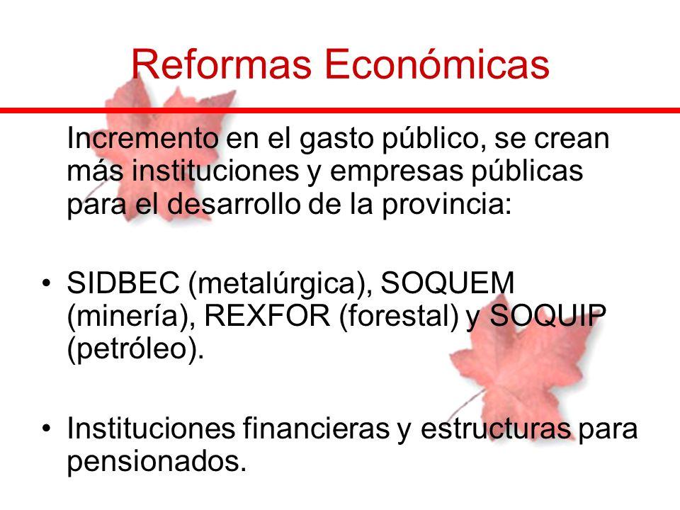 Reformas EconómicasIncremento en el gasto público, se crean más instituciones y empresas públicas para el desarrollo de la provincia: