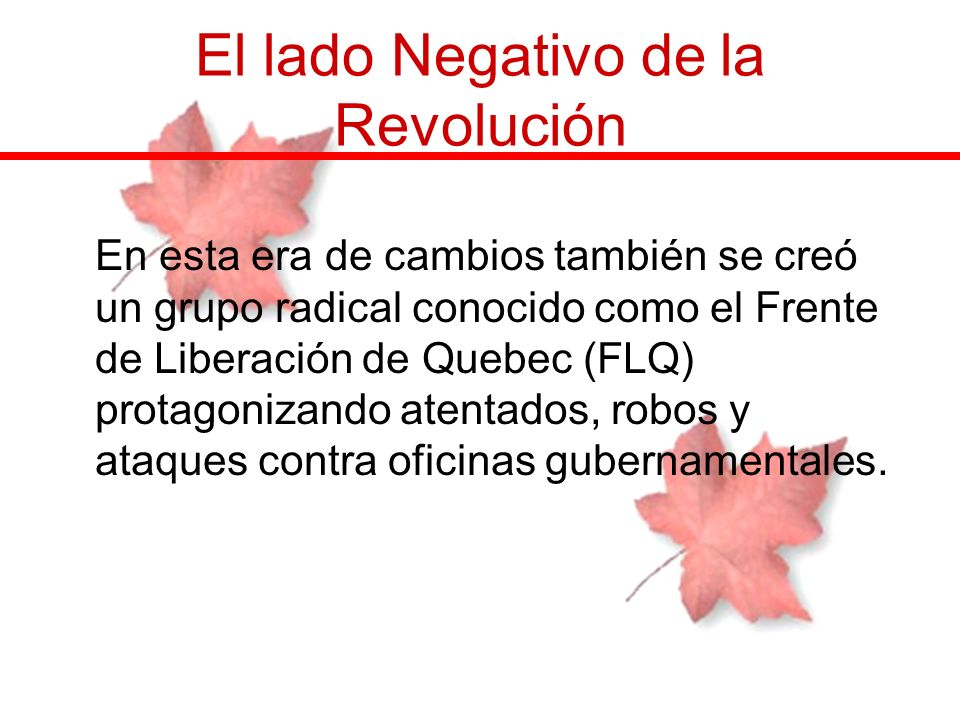 El lado Negativo de la Revolución