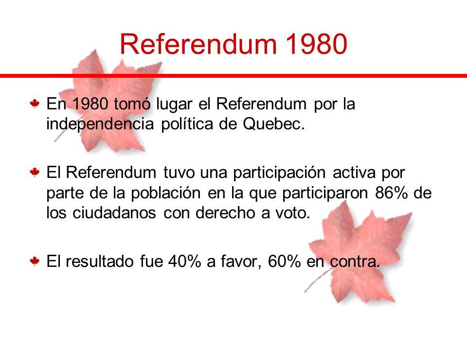 Referendum 1980En 1980 tomó lugar el Referendum por la independencia política de Quebec.