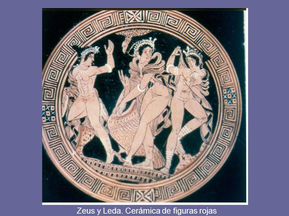 Zeus y Leda. Cerámica de figuras rojas
