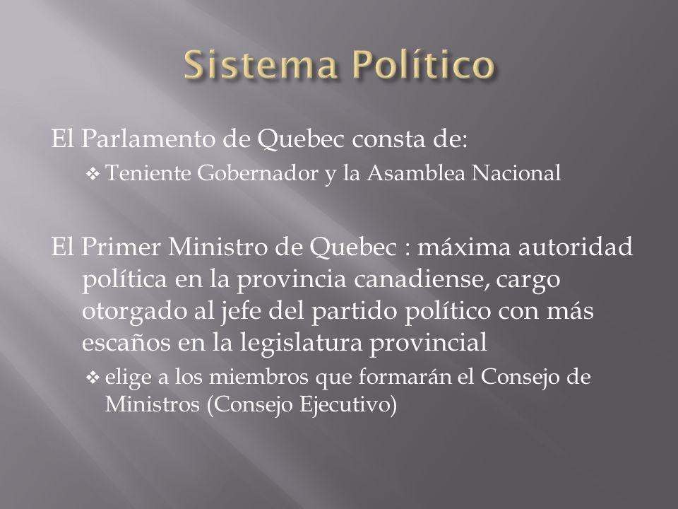 Sistema Político El Parlamento de Quebec consta de:
