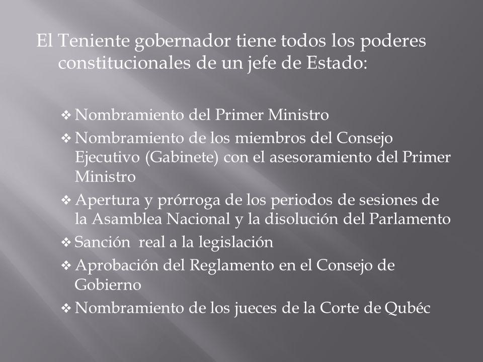 El Teniente gobernador tiene todos los poderes constitucionales de un jefe de Estado: