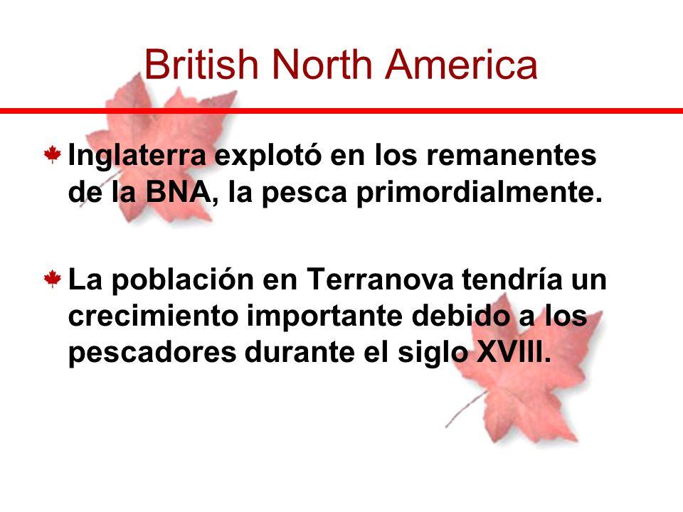 British North America Inglaterra explotó en los remanentes de la BNA, la pesca primordialmente.