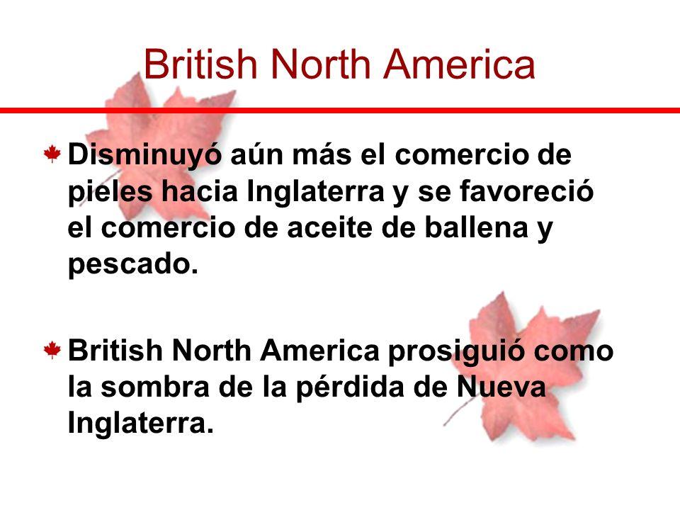 British North America Disminuyó aún más el comercio de pieles hacia Inglaterra y se favoreció el comercio de aceite de ballena y pescado.