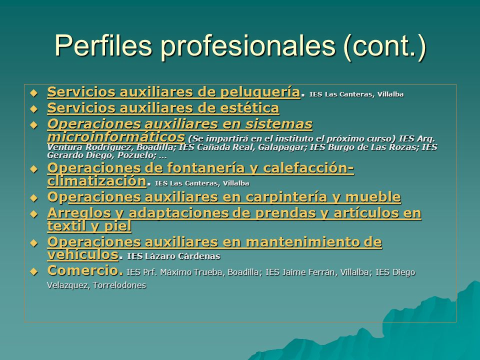 Perfiles profesionales (cont.)