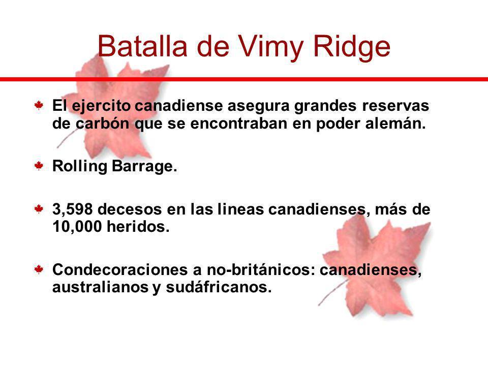 Batalla de Vimy Ridge El ejercito canadiense asegura grandes reservas de carbón que se encontraban en poder alemán.