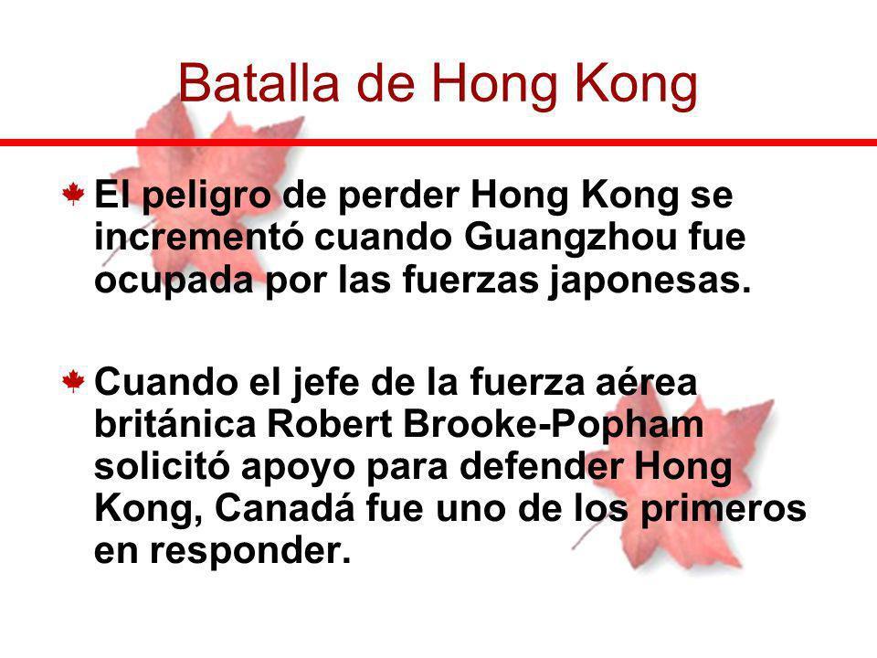 Batalla de Hong Kong El peligro de perder Hong Kong se incrementó cuando Guangzhou fue ocupada por las fuerzas japonesas.