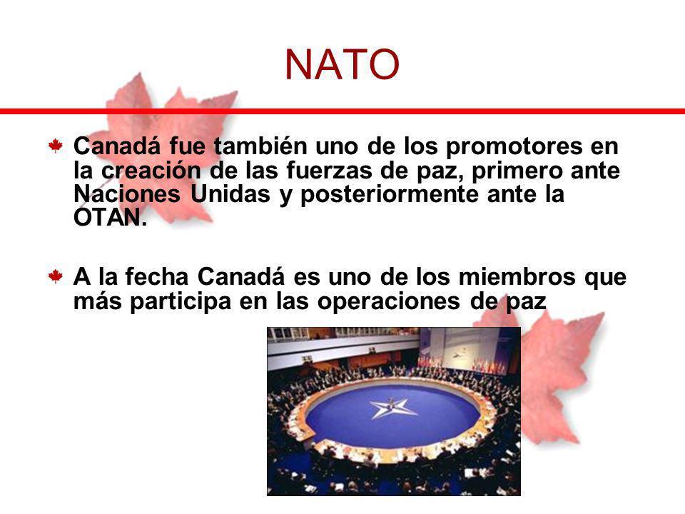 NATO Canadá fue también uno de los promotores en la creación de las fuerzas de paz, primero ante Naciones Unidas y posteriormente ante la OTAN.