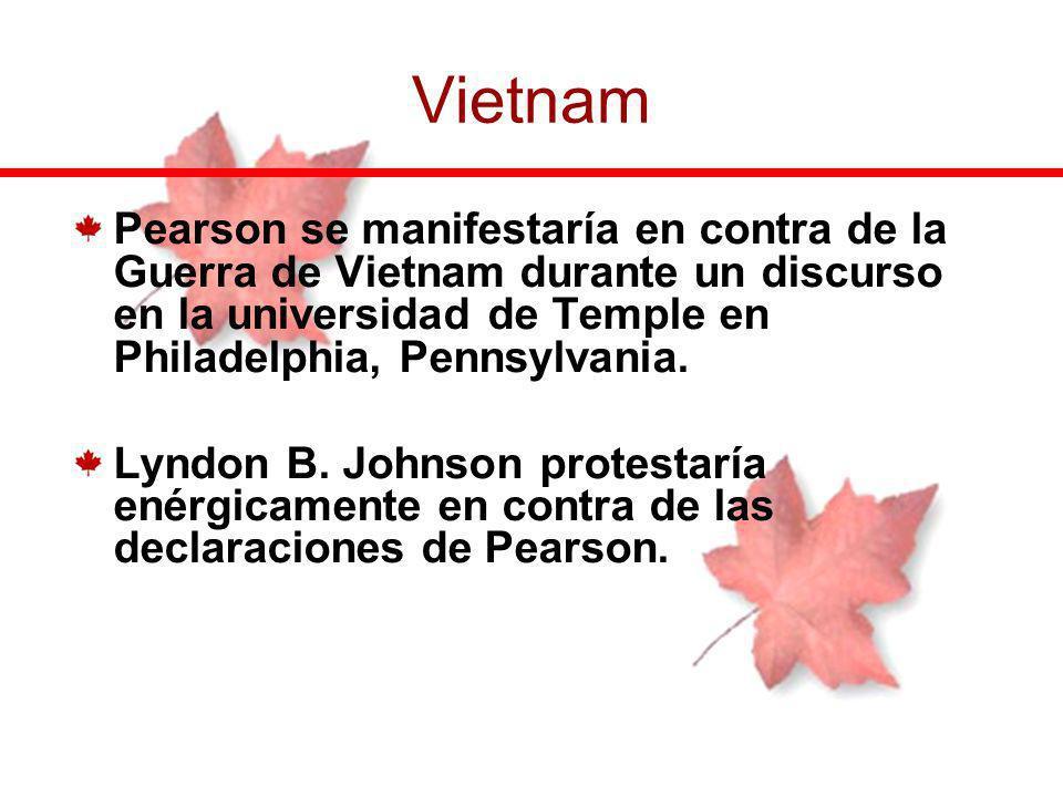 Vietnam Pearson se manifestaría en contra de la Guerra de Vietnam durante un discurso en la universidad de Temple en Philadelphia, Pennsylvania.