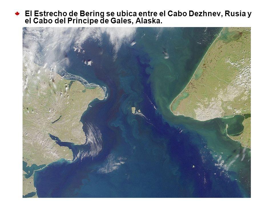 El Estrecho de Bering se ubica entre el Cabo Dezhnev, Rusia y el Cabo del Principe de Gales, Alaska.
