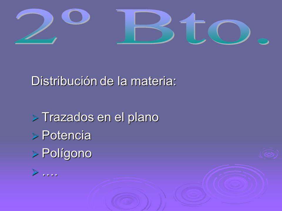 2º Bto. Distribución de la materia: Trazados en el plano Potencia